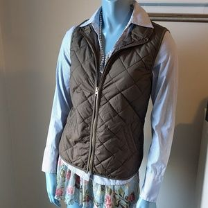 Olive Quilted Puffer Vest